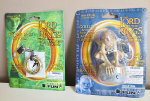 """Lord of the Rings Keychains Set of Two """"Gollum"""" & """"The One Ring"""""""