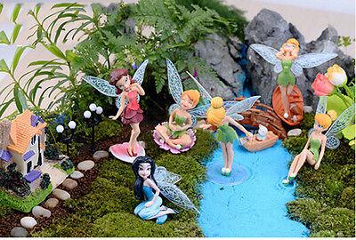 6X Flower Fairy Pixie Fly Wing Family Miniature Dollhouse Garden Ornament Pip HV