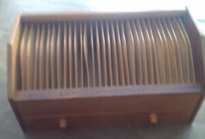 Vintage Wooden Box with Slats and Drawer