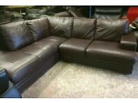 Fab brown leather corner sofa