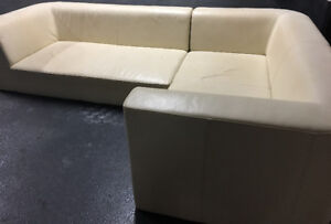 CREAM LEATHER L SHAPED COUCH!