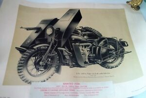 Print: War Motorcycle with Side Car, made in Herstal, Belgium