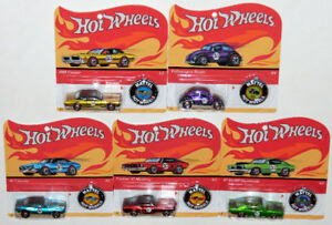 Hot Wheels 1/64 50th Anniversary Redlines Complete Set Of 5 Cars