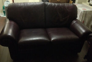 Love Seat-Burgandy/Brown-entirely leather