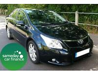 £141.54 PER MONTH BLACK 2010 TOYOTA AVENSIS 1.8 VALVEMATIC 4 DOOR MANUAL PETROL
