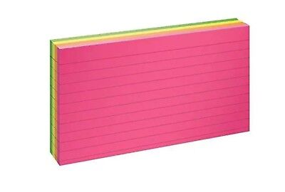Oxford Glow Index Cards 3 X 5 Ruled Assorted Bright Colors 100pack New