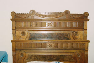 Antique 3/4 bed and dresser with original mirror