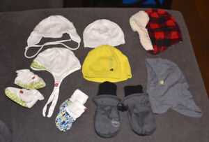 Baby boy hats and mittens