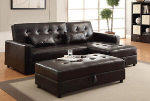 SOFA BED-SECTIONAL-COUCH IN CHOCOLATE WITH CHAISE & OTTOMAN