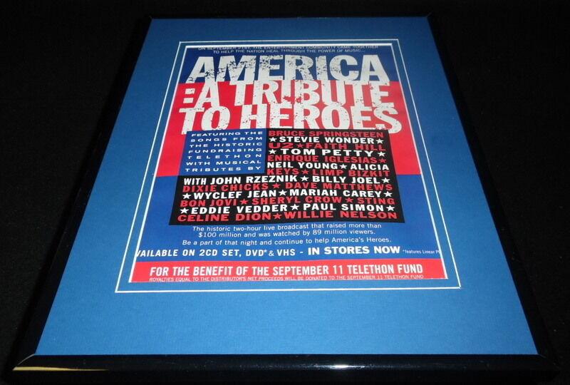 2001 America Tribute to Heroes Concert Framed 11x14 ORIGINAL Advertisement U2