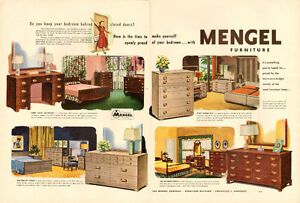 Large 1950 original 2-page, color print ad for Mengel Furniture