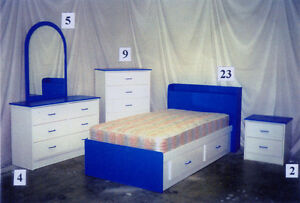 7 piece Blue and White Kids Bedroom Suite **Brand New**