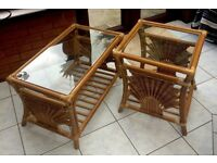 Bamboo and Rattan Glass Top Coffee/Conservatory Tables