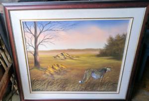 George Torro handpainted framed painting Leopard