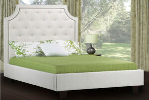 """""""MADE IN CANADA"""" Upholstered bed with tufting & studs"""