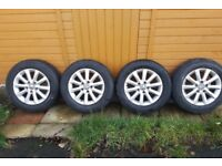 "4 x GENUINE 15"" VW Bristol Alloys 195 65 15 Tyres Seat Leon Skoda VRS Audi A3 Winter Tyres CHEAP!"
