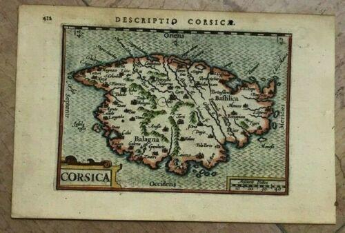 CORSICA FRANCE 1602 Peter BERTIUS /Cornelis CLAESZ RARE ANTIQUE MAP 17TH CENTURY