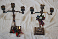 Antique silver plated candle sticks.