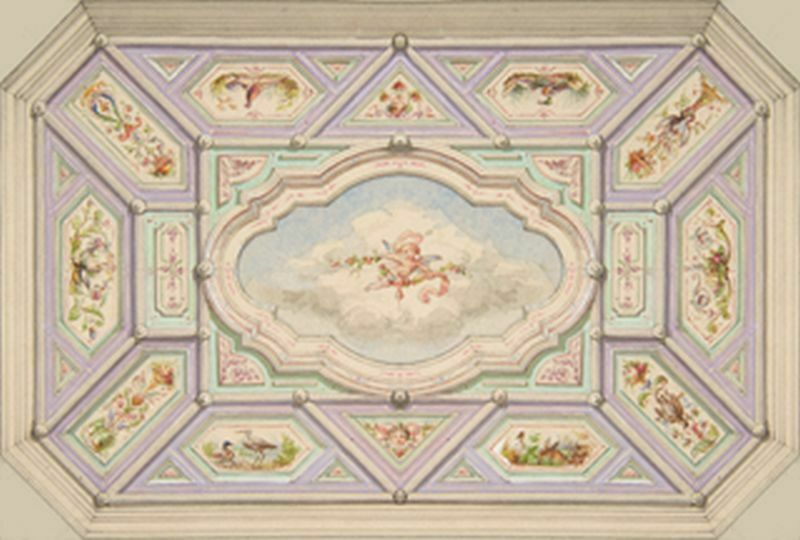 Dollhouse Wallpaper Ceiling Mural Cherub