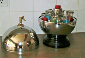 VINTAGE CHROME BOWLING BALL TROPHY LIQUOR SET