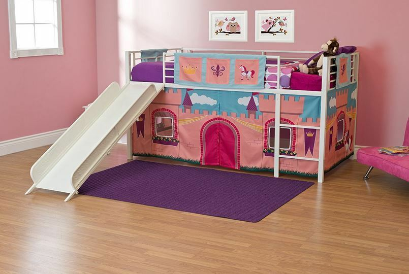 Loft Beds For Girls Pink Tent Princess White Slide Children