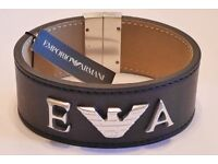 Emporio Armani Mens Silver & Leather Logo Bracelet - Brand New - Never Worn