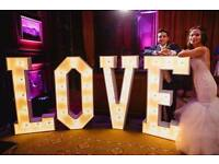 "Hire our Stunning 4ft tall LED Light Up ""LOVE"" Letters for your special day £130"