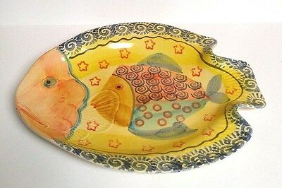 Fish Plate Platter Hand Painted Italy Italian Serving Dish Blue Yellow Red VTG