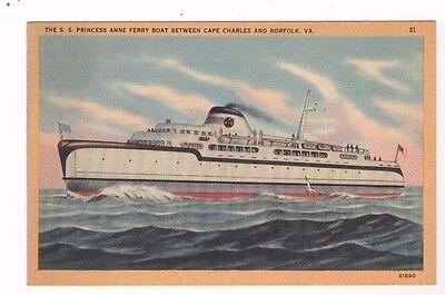 Vintage Postcard VIRGINIA VA SS PRINCESS ANNE FERRY boat Cape Charles Norfolk