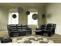 New Black Leather 3 2 Recliners Sofas Couch Settee