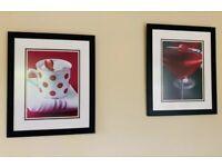 "2x Large Red & Black Kitchen Cocktail Drinks Prints - Framed & Mounted 24""x20"""
