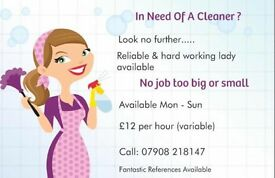 Cleaner Available Mon-Sun
