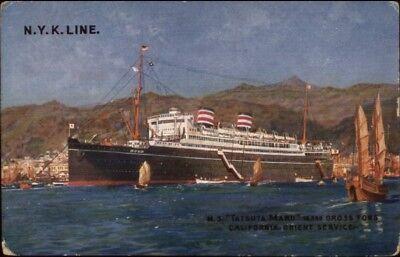 Nyk Line Steamship Ms Tatsuta Maru California Orient Service C1920 Postcard