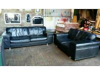 Black Leather 3+2 Suite