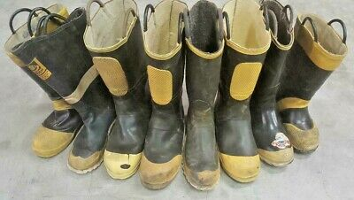Lot Of 8 Rubber Ranger Srvs Firefighter Turnout Single Boots Left Right No Pairs