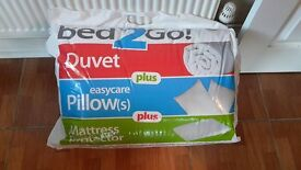 double duvet 10.5tog, mattress protector and 2 pillows