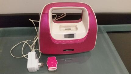 IPOD dock with radio, alarm, remote and battery backup