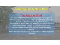 Full & Part time Bar Person for the Raigmore Motel