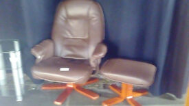 Brown Leather Swivel Chairs with Footstool