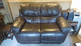Harveys 2 Seater Brown Leather Sofa, Electric Recliner