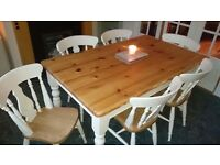 Solid wood large farmhouse table and 6 chairs