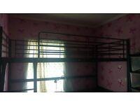 Loft bed frame with desk top