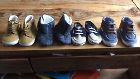 4 pairs of boys 0-6 and 3-6 month pram shoes