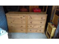 solid pine double chest of drawers - free local delivery