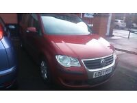2007, VOLKSWAGON TOURON, 5dr, 1.9ltr DIESEL MANUAL, 7 SEATER WITH 10mths MOT.