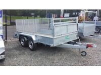 Large 10x5 twin wheel galvanised trailer meshsides and ramp door, very strong and great value