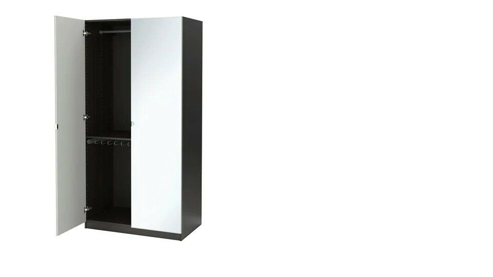 Used 2 Pax Wardrobe Black Brownvikedal Mirror Glass Doors Ikea Pax