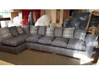Large 6 Seat L Shape Grey Chenille Fabric Corner Sofa