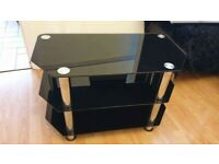 Tv stand glass table, black- £10.00