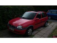 Red Vauxhall Corsa 1.2 2000, 11 months MOT, 5 door